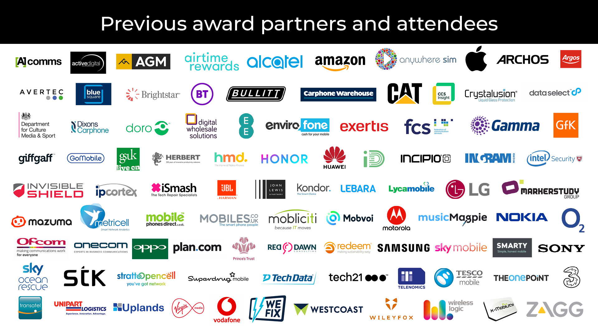 Categories for the Mobile Industry Awards