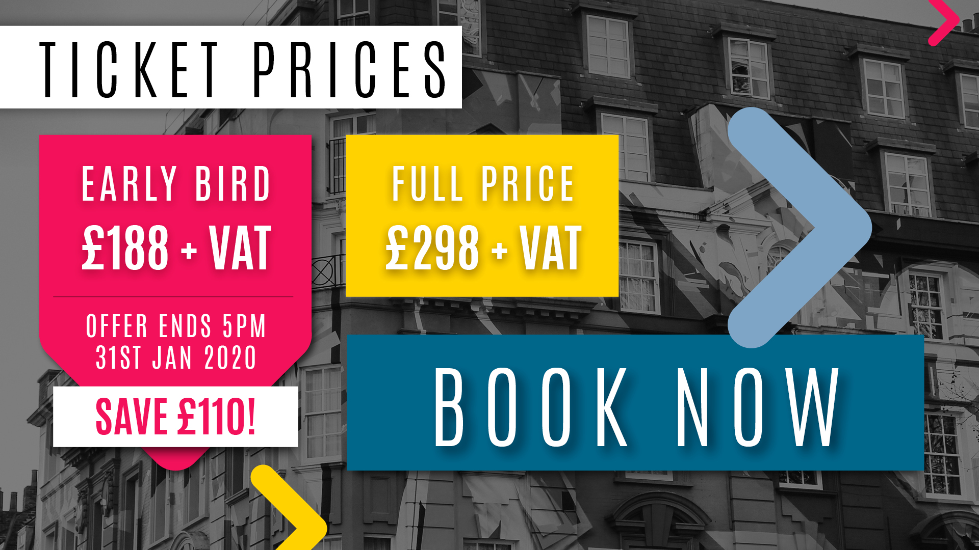 Ticket prices to GenerateJS. Early bird is just £188+VAT.