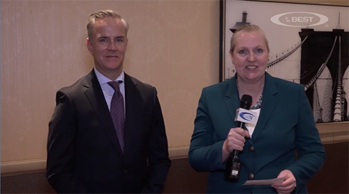 Sean Kevelighan, Insurance Information Institute, and  Meg Green, AM BestTV