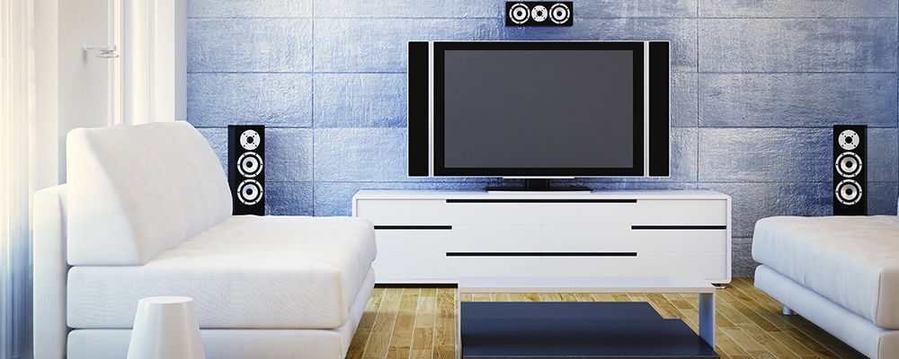 Lounge with TV and speaker system